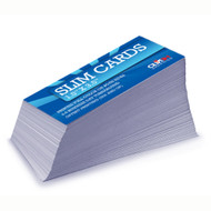 Our Slim Cards are size at 3.625x1.625 and cut down to 1.5X3.5. Our thick 16pt card stock make for a very sturdy card. Choose from High Gloss UV or a Matte finish. the turnaround for the slim cards is 4-6 days including shipping.