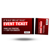 Event Tickets are printed same day, then perforated the following day. Have your order paid placed by 2:30pm and it will be ready for pick up or ship out the following business day.This product is printed on 12pt card stock with your option of UV high Gloss, matte Finish, or matte on the back and UV gloss on the front.