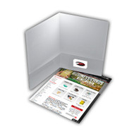 Our Rush Presentation Folder printing is produced in Atlanta on 12pt card stock. The inside flaps have optional business cards slits and are not printable.