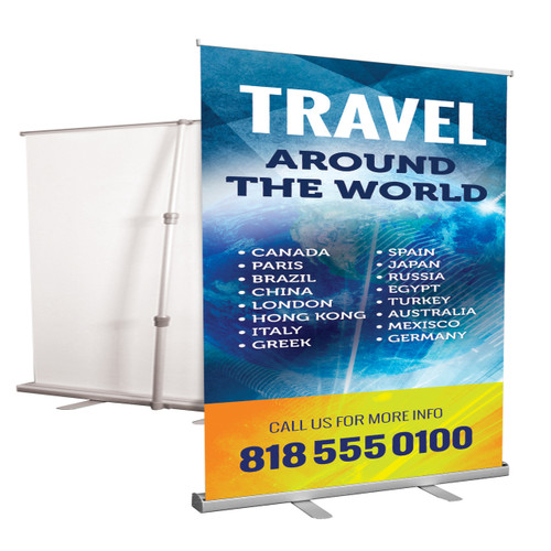"Our Aluminum Retractable Banner Stands are available with 10 mil indoor premium vinyl banners and are just as versatile as our ""X-style"" banner stands. The retractable stands are conveniently packed in a small bag and set up in a few easy steps."