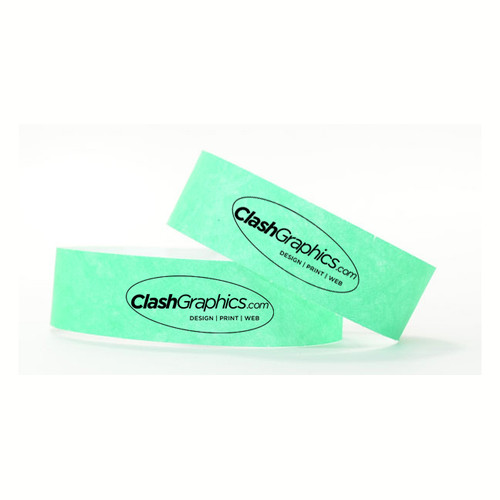 Poly wristbands are made from a Tyvek material and ready in 3-5 business days for pick up in Atlanta or ship nationwide.