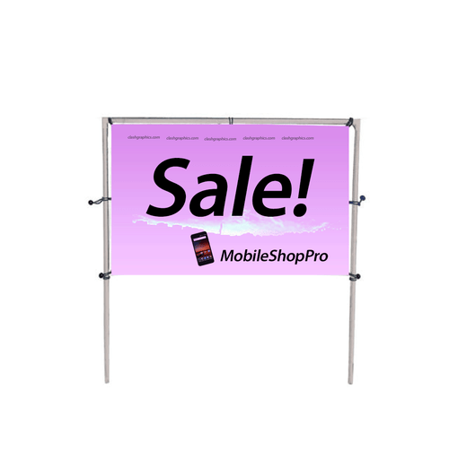 This lightweight display is designed for temporary in-ground installations. Just drive the posts into the ground, secure the eye bolts to holes on the post and install your banner