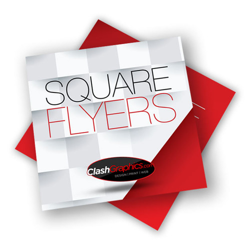Square Flyers Printed same day next day on glossy thick card stock with UV coating