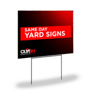 Same day yard sign printing in Atlanta Georgia. Printed on coroplast material will have to be oriented appropriately to ensure the flutes are vertical, in the case of utilizing an H-stake with the sign. H-stake is best used on a soft ground environment (dirt/soil/grass, etc.) This product once printed, may show a linear effect due to its corrugated flute structure. Ink is UV Cured (dried).