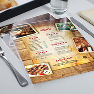 laminated menus are printed on 110lb thick cover stock and then laminated with either 5mil or thicker 10mil lamination