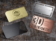 Metal Business Cards are: 0.5mm thickness (500 microns) Unique Metal Business Cards for New and Innovative Design options Durable - Tear and Water proof Unique Attractive  Included Available Options: Laser Cut Laser Engraving PMS Ink