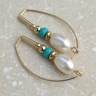 Pearl Drop with Turquoise Earrings