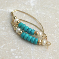 Turquoise & Pearl Bow Earring