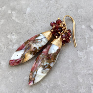 Veined Spiny Oyster Marquise earring