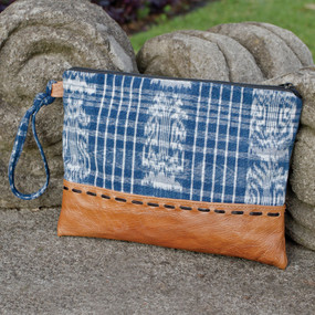 Blue Corte & Leather Clutch*
