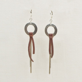 Hammered Hoop with Chain & Leather Earrings
