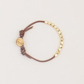 Leather & Faceted Metal Bracelet