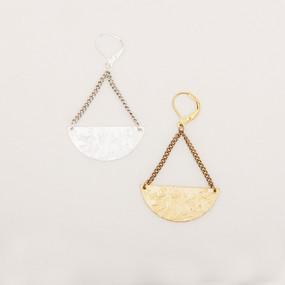 Large Mottled Half Moon Earrings