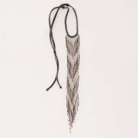 Long Beaded Fringe Lariat Necklace