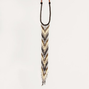 Long Beaded Fringe Lariat