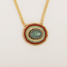 Cabachon & Gold Bead Necklace