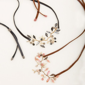 Beaded Wire & Leather Flower Headband