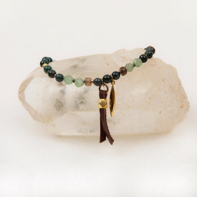 Leather & Gold Spear Stone Bracelet