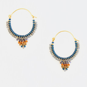 Medium Beaded Hoop Earring