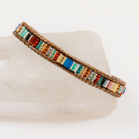 Handmade Bracelet Miyuke Bead & Leather