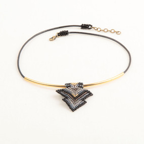 Leather & Gold Tube Choker with Triangle