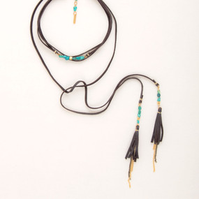 Leather Choker with Tassels & Turquoise