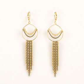 Long Chain Fringe Hoop Earring