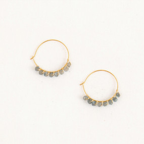 Hoop with Faceted Stone Edge