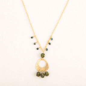 Hammered Triangle & Crystal Necklace