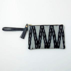 Ikat & Leather Clutch