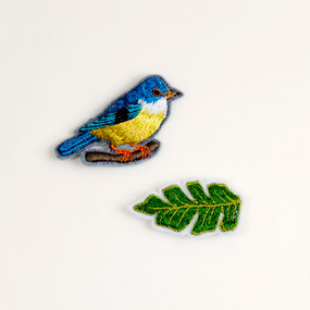 Blue Bird and Leaf Embroidered Pins