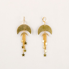 Double Moon & Star Earring