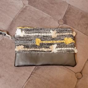 Pom Pom Clutch with Leather