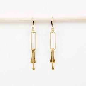 Rectangle Dangle Fringe Earrings