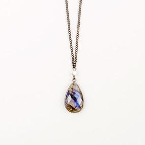 Labradorite Bezel Drop Necklace