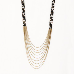 Beaded Geo Multi Strand Chain Necklace