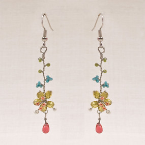 Flower Drop Wire Earrings