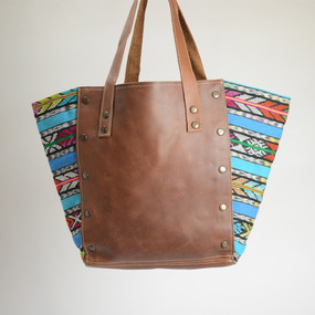 Boho Zunil and Leather Tote- 2