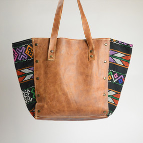 Boho Zunil and Leather Tote- 3