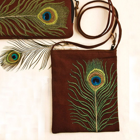 99de294c7341 Peacock Feather Passport Bag