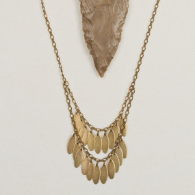 Double Oval Fringe Necklace