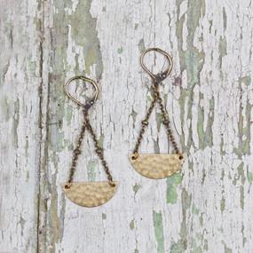 Hammered Half Moon Earrings