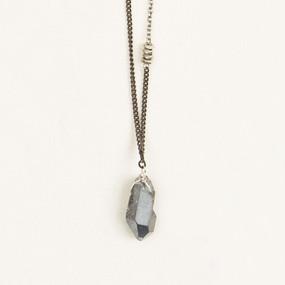 Single Point Crystal & Mixed Metal Necklace