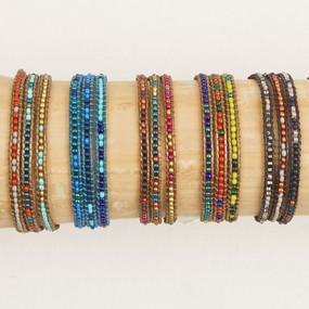 Triple Wrap Leather & Bead Bracelet