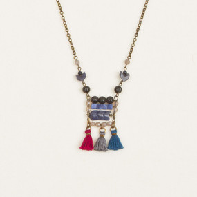 Geo Stone & Tassel Necklace