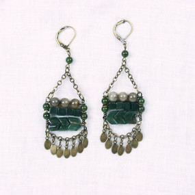 Geo Stone & Fringe Earrings