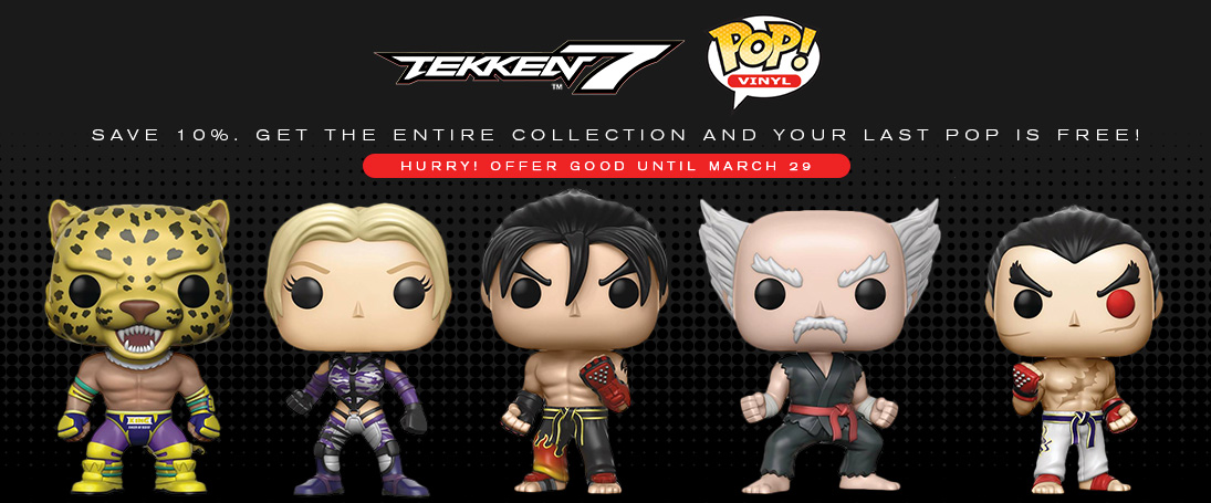 Save 10%, plus get a 5th pop for free by pre-ordering Funko Pops for Tekken 7.
