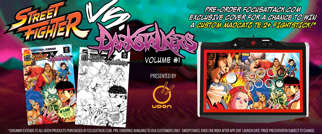 Street Fighter VS. Darkstalkers. Pre-order FA's exclusive cover and enter automatically for a chance to win a MadCatz TE2+!