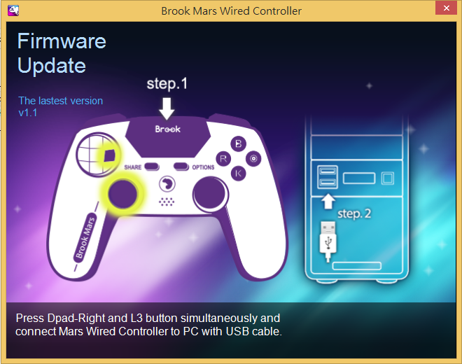 MARS Wired Controller firmware update: Step 1