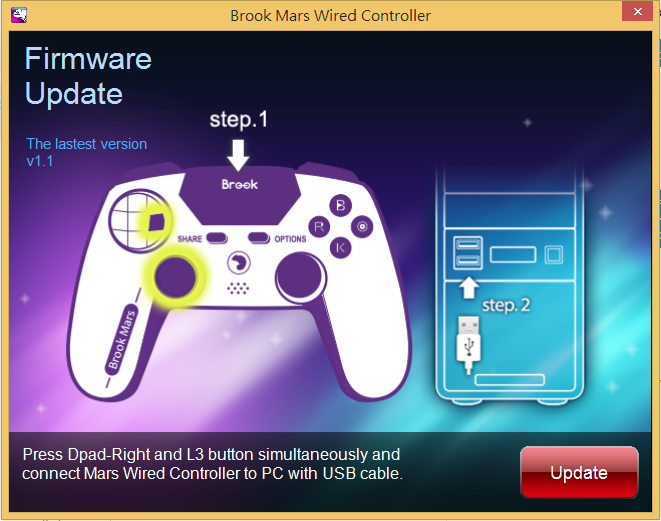 MARS Wired Controller firmware update: Step 2
